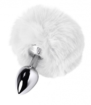 Серебристая анальная втулка TOYFA Metal с белым хвостиком