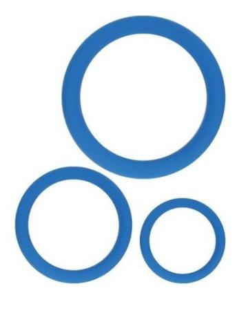 Набор из 3 эрекционных колец синего цвета
