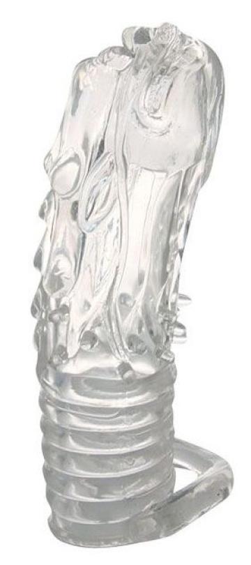 Закрытая прозрачная насадка в форме дракона с креплением-колечком - 14 см.