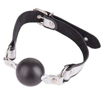 Кляп-шарик на чёрно-серебристых ремешках