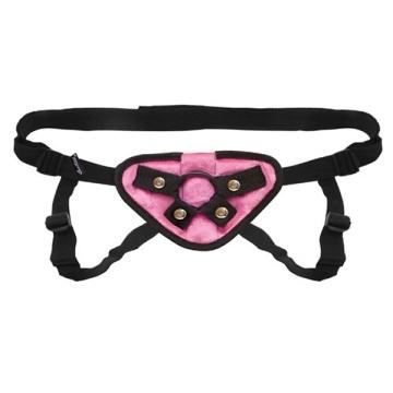 Черно-розовые плюшевые трусики для страпона