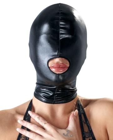 Черная эластичная маска на голову с отверстием для рта