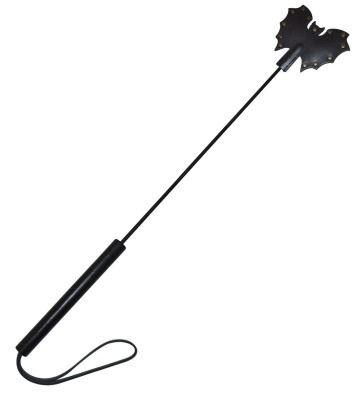 Стек с черным матовым кожаным шлепком в виде летучей мыши - 60 см.