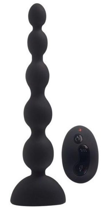 Черный анальный вибростимулятор Anal Beads L с пультом ДУ - 21,5 см.