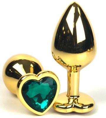 Золотистая анальная пробка с зеленым кристаллом-сердцем - 8 см.