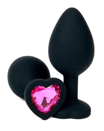 Черная силиконовая пробка с розовым кристаллом-сердцем - 10,5 см.
