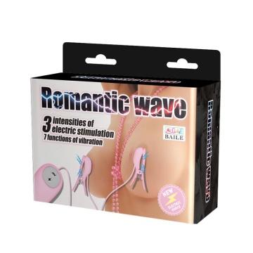 Нежно-розовые зажимы на соски с вибрацией и электростимуляцией