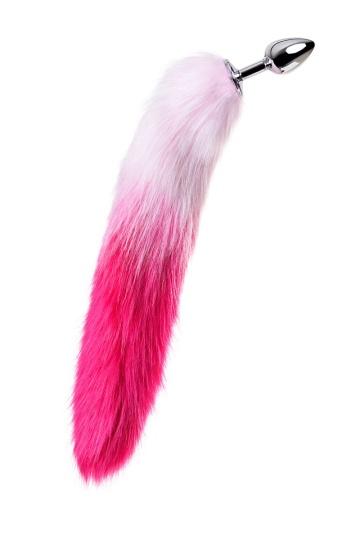 Серебристая анальная втулка с бело-розовым хвостом - размер S