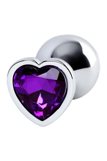 Серебристая коническая анальная пробка с фиолетовым кристаллом - 7 см.