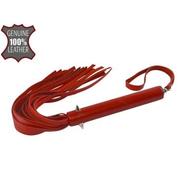 Красная кожаная плеть с шипиками - 41 см.