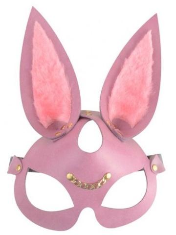 """Розовая кожаная маска """"Зайка"""" с длинными ушками"""
