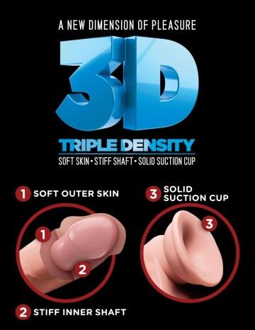 "Телесный фаллоимитатор на присоске 10"" Triple Density Cock with Balls - 26,7 см."