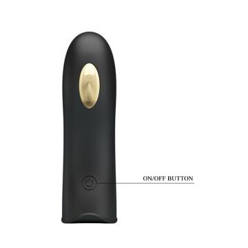 Черная вибронасадка на палец с электростимуляцией Marico