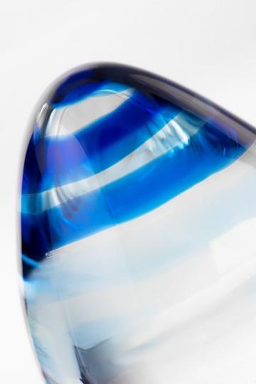 Стеклянная анальная втулка с синим кончиком - 11,5 см.