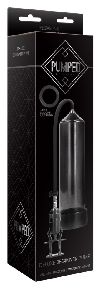 Черная вакуумная помпа для мужчин с насосом в виде поршня Deluxe Beginner Pump