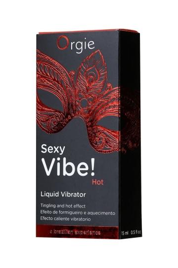 Разогревающий гель для массажа ORGIE Sexy Vibe Hot с эффектом вибрации - 15 мл.