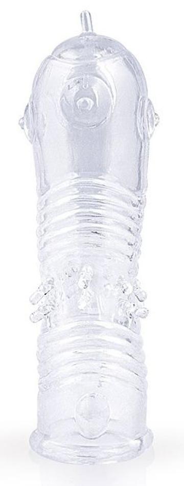 Прозрачная закрытая насадка на пенис с шипиками - 12,5 см.