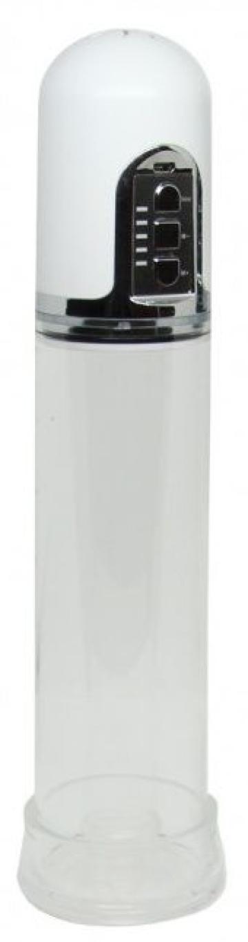 Белая вакуумная автоматическая помпа с прозрачной колбой