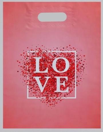 Полиэтиленовый пакет Love - 31 х 40 см.