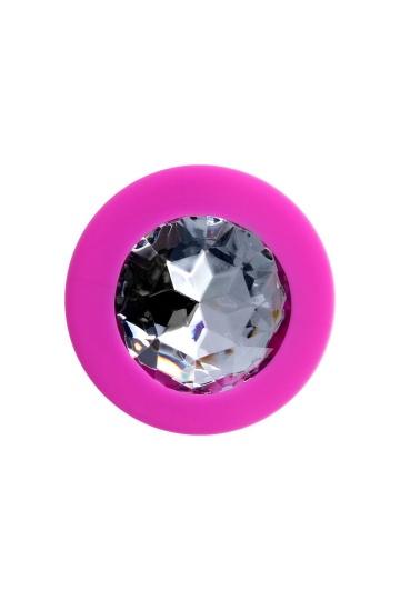 Розовая анальная втулка Brilliant с прозрачным кристаллом - 8 см.