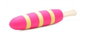 Ярко-розовый вибростимулятор-эскимо 10X Popsicle Vibrator - 21,6 см.