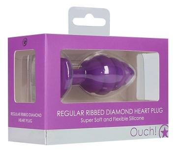 Фиолетовая анальная пробка Regular Ribbed Diamond Heart Plug - 7 см.