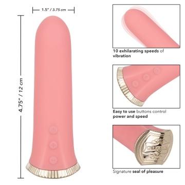 Нежно-розовый мини-вибромассажер Uncorked Rose - 12 см.