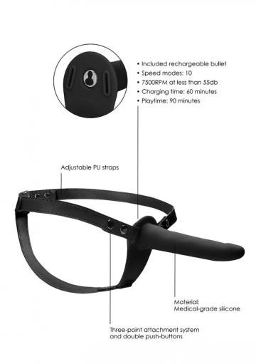 Черный вибрострапон Silicone Strap-On Adjustable - 15,5 см.