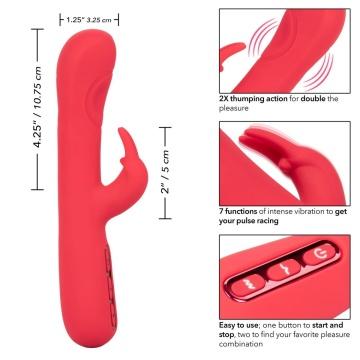 Розовый вибромассажер-кролик Throb Pulse - 21,5 см.