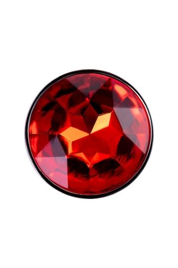 Серебристая удлиненная анальная пробка с красным кристаллом - 10 см.