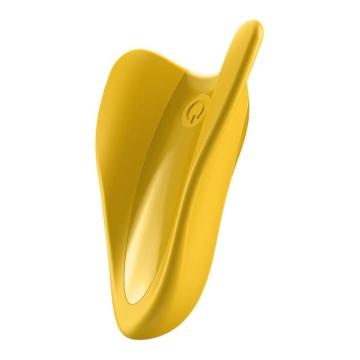 Желтый унисекс вибратор на палец High Fly