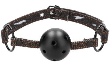 Кляп-шарик With Roughend Denim Straps с черными джинсовыми ремешками