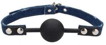 Черный кляп-шарик With Roughend Denim Straps с синими джинсовыми ремешками