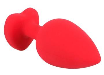 Красная силиконовая анальная пробка с черным стразом-сердечком - 9,3 см.