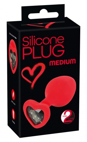 Красная силиконовая анальная пробка с черным стразом-сердечком - 7,9 см.