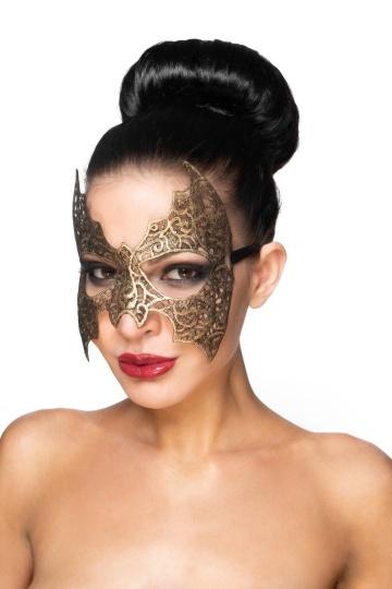 """Золотистая карнавальная маска """"Алиот"""""""