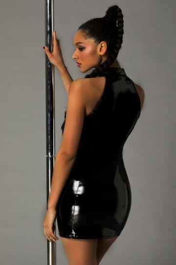 Стильное лаковое платье на молнии Ariana