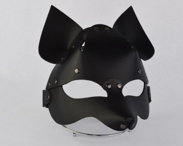"""Черная кожаная маска """"Лиса"""""""