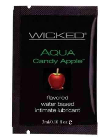 Лубрикант с ароматом сахарного яблока WICKED AQUA Candy Apple - 3 мл.