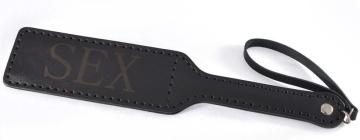 Черная гладкая шлепалка SEX - 35 см.
