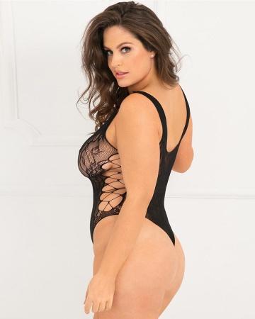 Эротичное кружевное боди Laced Up Sexy Crisscross Side Bodysuit