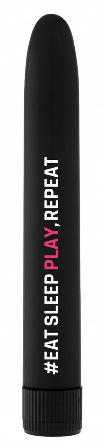 Черный гладкий вибромассажер #EatSleepPlayRepeat - 17,2 см.