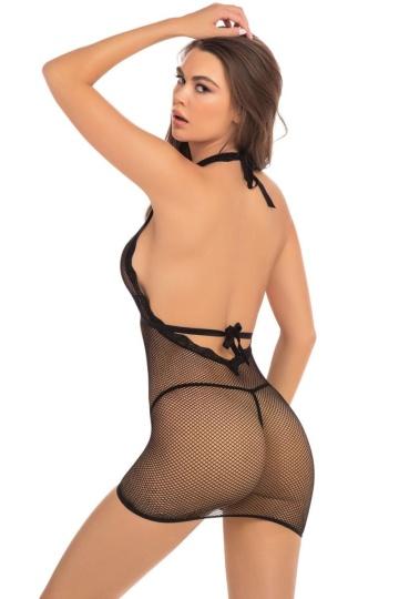 Соблазнительное коротенькое платье с завязками на шее