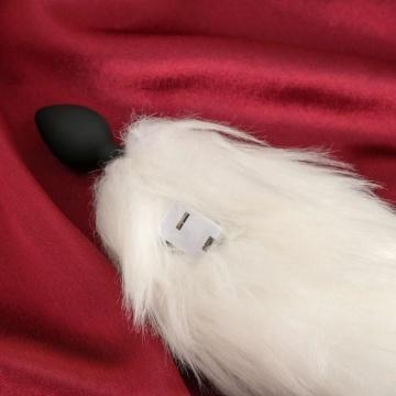 Черная анальная пробка с белым светящимся хвостом