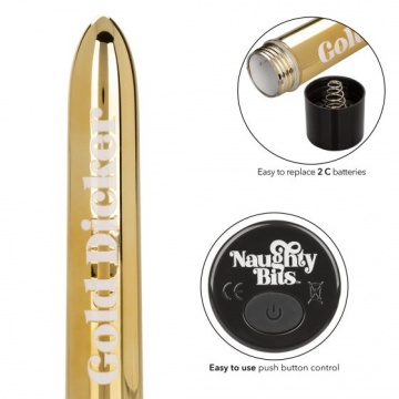 Золотистый классический вибратор Naughty Bits Gold Dicker Personal Vibrator - 19 см.