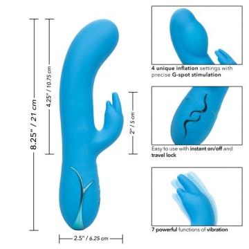 Голубой вибромассажер Insatiable G Inflatable G-Bunny с функцией расширения - 21 см.