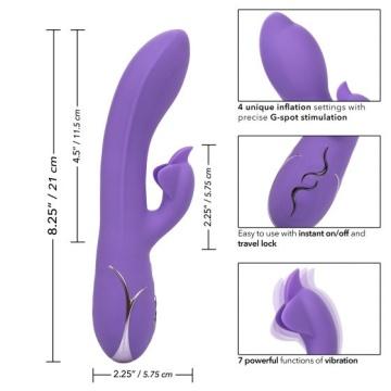 Фиолетовый вибромассажер Inflatable G-Flutter с функцией расширения - 21 см.