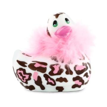 Белый вибратор-уточка I Rub My Duckie 2.0 Wild с леопардовым принтом