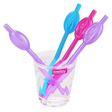 Набор разноцветных трубочек для напитков в виде вагины Pussy Straws - 9 шт.