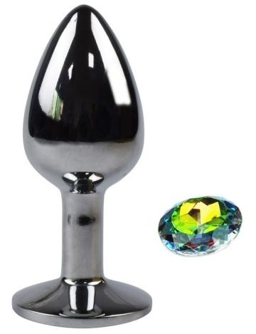 Серебристая анальная пробка с радужным кристаллом - 7 см.